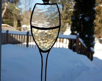 White wine stained glass suncatcher