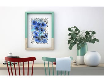 Blue watercolor flowers original painting. Modern art. Original artwork. Abstract floral painting. Floral watercolor. Original illustration