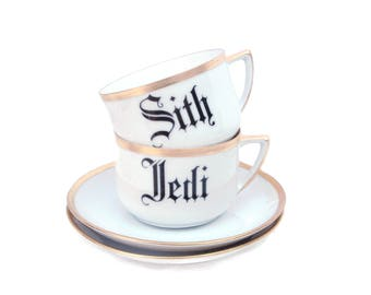 Sith and Jedi Altered Vintage Teacup Set