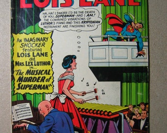 Lois Lane Comic number 65, 1960s, Vintage Comic, Superman's Girlfriend, Vibraphone, Death, Music, Old Comic Book, Comic Book, Collectible