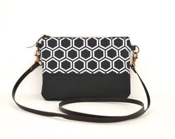 Crossbody bag, Japanese bag, Geometric pattern, Small crossbody bag, Shoulder bag, Black small bag