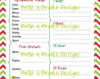 Kids Christmas Wish List - Printable - Red and Green