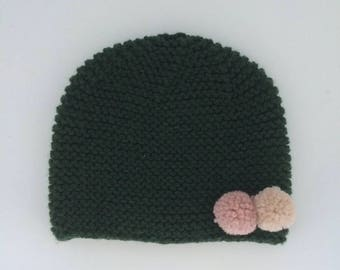 Vert foret knitted beanie with canvas and coquillage pompon