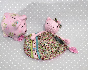 Fanny the pig, handmade crochet baby blanky