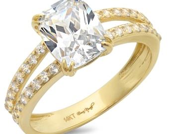 Yellow Gold Wedding Band, Gold Band, Gold Wedding Band, Gold Band, 3.3 Ct Simulated Diamond Engagement Ring Cushion Cut 14k Yellow Gold