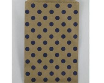 NEW- Navy Polka Dot on Kraft Middy Bitty Bags (20 bags)