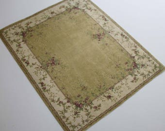Miniature  Rug in Shades of Gold with Burgundy Roses Large Sizes