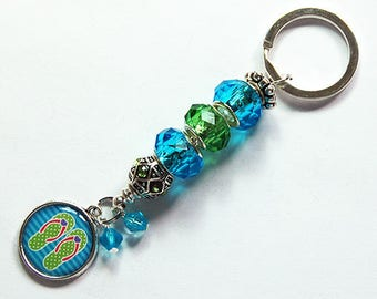 Flip Flop Keychain, Gift for her, Stocking Stuffer, Zipper pull, flip flop keyring, Blue, Green, Glass bead keychain, beaded keyring (8106)