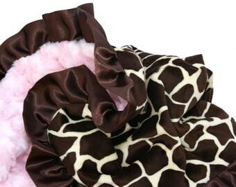 Giraffe Minky Baby Blanket Pink Rosebud Minky Brown Satin Ruffle Standard size