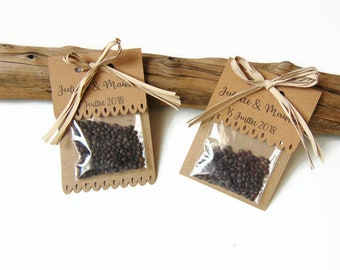 Bag with seeds in Brown kraft rustic wedding - country style wedding Decoration - invited Brown Kraft gift