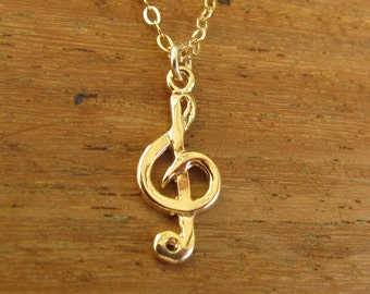 Gold necklace, musical gold, gold filled necklace, necklace gold filled 14k, pendant musical note, bridesmaid jewelry, jewelry gift