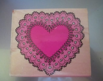 """Rubber Stampede """" Large Heart Doily"""" For scrapbooking   used good condition"""