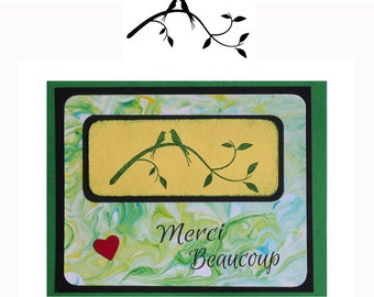 Love Birds on Branch Silhouette UNMOUNTED rubber stamp, spring, summer, nature, Sweet Grass Stamps  #23