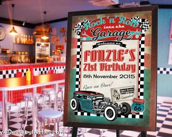50s Garage Rock n Roll Party Sign - INSTANT DOWNLOAD - Editable & Printable Birthday Party Decorations by Sassaby Parties