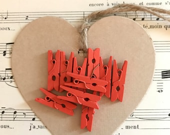 Lot 15 small coral wood clips