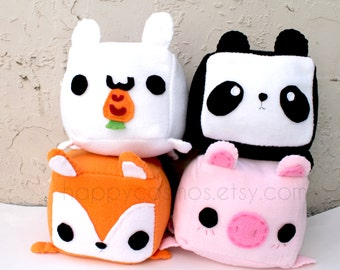 Animal Plush - Kawaii Plushie , Cute Stuffed Animal, Children Softie, Children's Toy, Rabbit, Fox, Pig, Panda, Christmas Gift