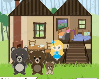 Goldilocks and the 3 Bears Clipart - Instant Download File - Digital Graphics - Cute- Crafts, Web, Party - Commercial & Personal Use - #F010