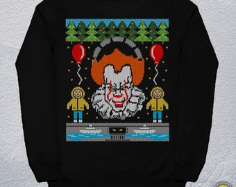 IT UGLY CHRISTMAS sweater/Pennywise Ugly Christmas Sweater/Pennywise Sweater/Pennywise Hoodie/It Sweater/Horror Sweater/Mens Womens