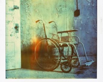 Polaroid Print - Abandoned Wheelchair / Door / Flames