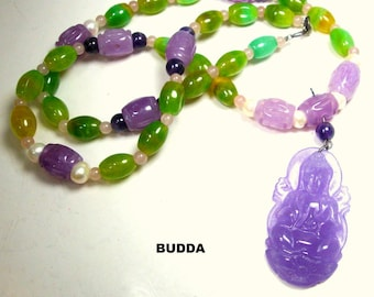 Purple BHUDDA Necklace with Green & Purple Soo Chou Jade Beads and Pearls,  Carved Colorful Stone Chinese Bhuddah, Budda, Asian Bodhisatva