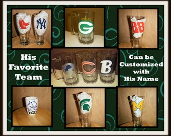 Favorite Sports Logo on your choice of Glass