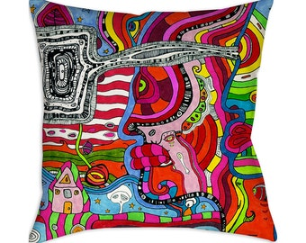 Psychedelic throw pillow colorful abstract pillow case floor pillow abstract pillow cover art cushion modern pillow unique throw pillow art