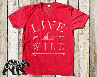 Live Wild V-Neck Tee ~ Available in 3 Styles and Vintage Colors