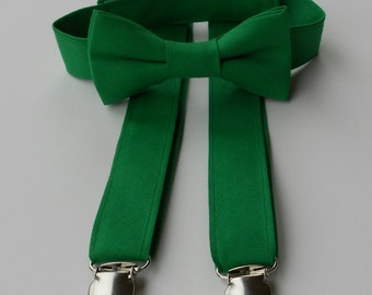Kelly Green Bowtie and Suspender Set- 2 weeks before shipping
