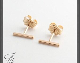 Square Gold Bar Stud Earrings, Tiny Bars Bar Studs, Gold Studs, Handmade Studs, Bar Studs, Gold Stick, Everyday Earrings, 10 x 1.5mm