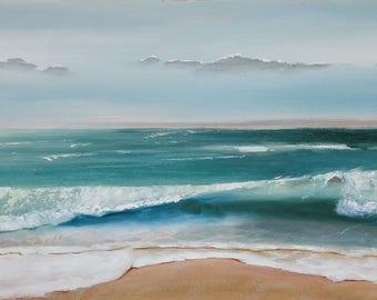 Marine Painting. Original Painting. Oil on canvas. Beach painting. Painting Water. Wave painting. Painting sea. Painting Decoration. Blue.
