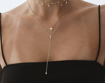 Lariat Necklace Layered, Simple Delicate Necklace, Dainty Necklace, Drop Necklace
