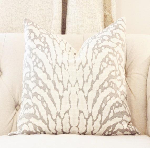 Animal Print Pillow Gray Zebra Pillow Cover Light Gray