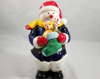 Hinged Snowman Trinket Box