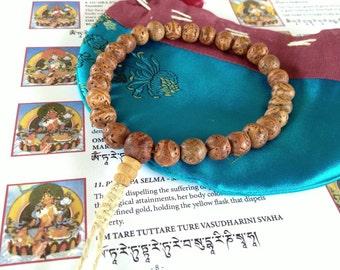 All Natural 27 Bead Bodhi Seed Wrist Mala with Guru Bead
