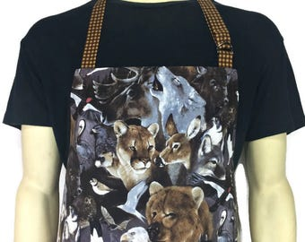 Wild Animal Apron , Professional Chef Style / Adjustable with Pocket , Cabin Kitchen Decor , Bears , Wolves , Eagles , Deer
