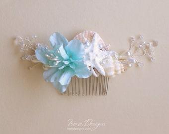 Wedding Seashell Hair Comb, Aqua Seashell Headpiece, Crystal Headpiece, Floral Head piece
