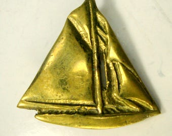Nautical Sailboat Pin, All BRASS Brooch Used, AS IS,  1980s, Life On the Sea, Can Polish Up with Some Work
