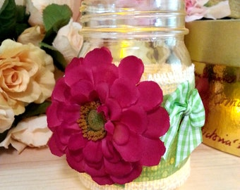 Magenta Flower and Green Bows Decorated Mason Jar, Decorative Jar Light, Flameless Tealight, Shabby Chic Decor, Country Style Centerpiece