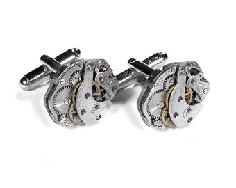 Steampunk Mens Cufflinks Vintage UNIQUE Watch Movement Mens Cuff Links Anniversary Wedding Groom Fathers Day - Jewelry by Steampunk Boutique