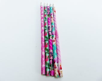 5 pencils tropical Flamingo tropical Palm tree flower with Eraser pink green and blue
