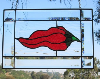 "Stained Glass|Beveled Glass ""Hot Chili Pepper"" Transom Window Panel Sun-catcher."