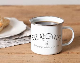 Glamping Metal Camp Mug | RV Accessories | Black & White | Camping Mug | RV Decor | Metal Campfire Mug | Enamelware