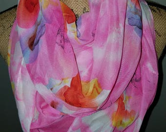 Lavello chiffon pink water mark floral infinity scarf