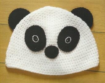 Crochet Panda Beanie Hat PDF Crochet Animal Hat Pattern Instant Download