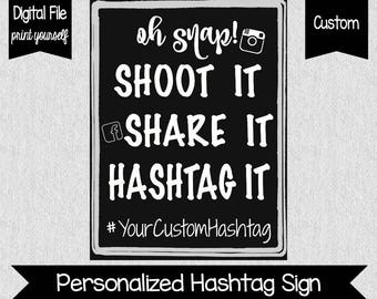 Custom Hashtag Sign - Social Media Hashtag Sign - Digital - You Print - Facebook - Instagram - Wedding Decor - Share Your Photos - Hashtag