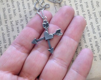 The Rosa Necklace - Hand Stamped Crossed Arrow Initial Necklace