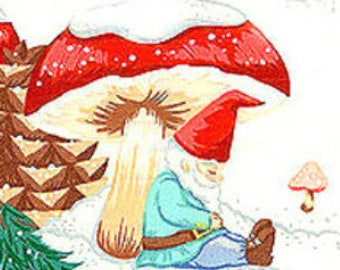 Gnomes In the Snow Christmas Cotton Fabric REMNANT