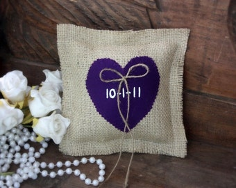 Burlap ring beaer pillow personalized with your wedding date,purple heart