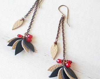 Chain drop earrings, dangle leather earrings, dangle flower earrings, gift for her, dainty earrings, boho jewels, long earrings for women