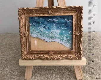 Miniature dolls house original watercolour seascape